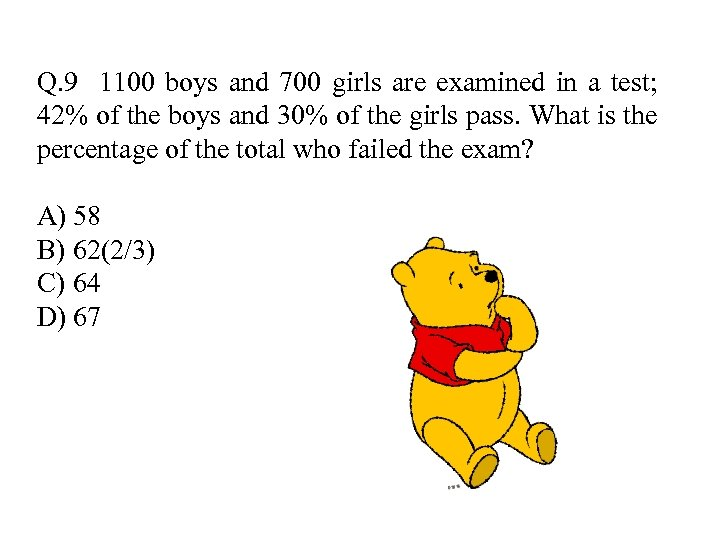 Q. 9 1100 boys and 700 girls are examined in a test; 42% of