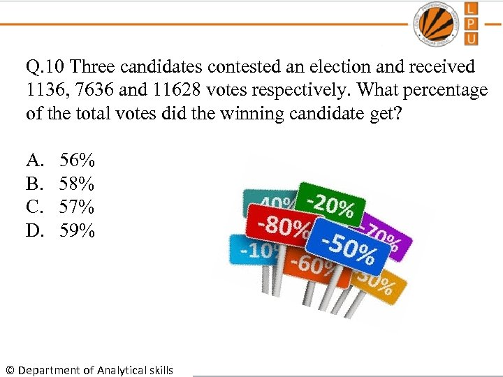 Q. 10 Three candidates contested an election and received 1136, 7636 and 11628 votes