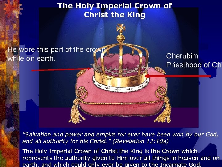 The Holy Imperial Crown of Christ the King He wore this part of the