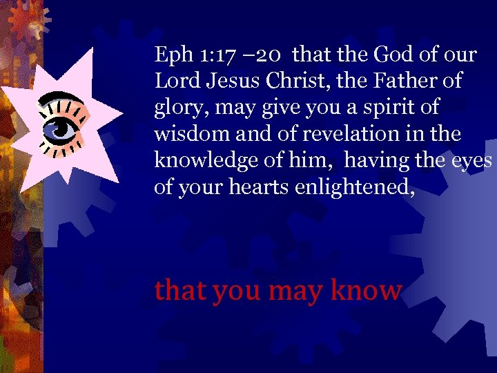 Eph 1: 17 – 20 that the God of our Lord Jesus Christ, the