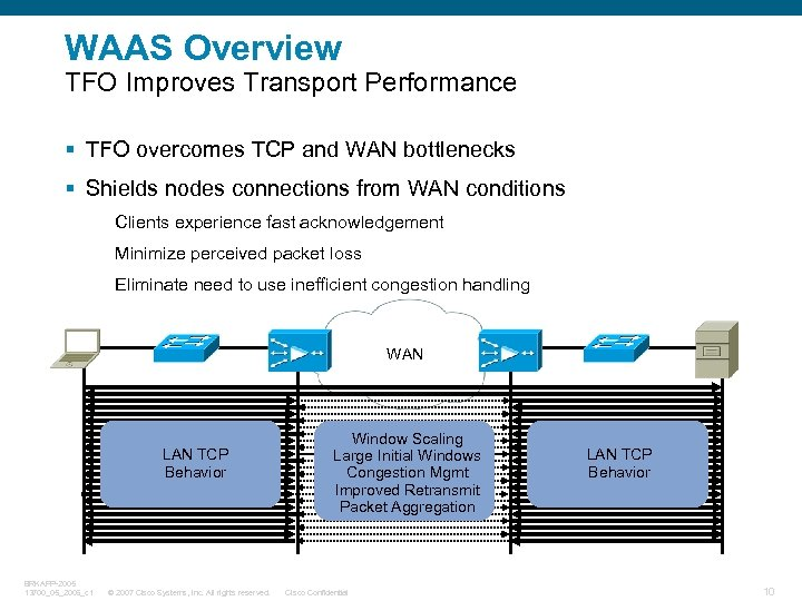 WAAS Overview TFO Improves Transport Performance § TFO overcomes TCP and WAN bottlenecks §