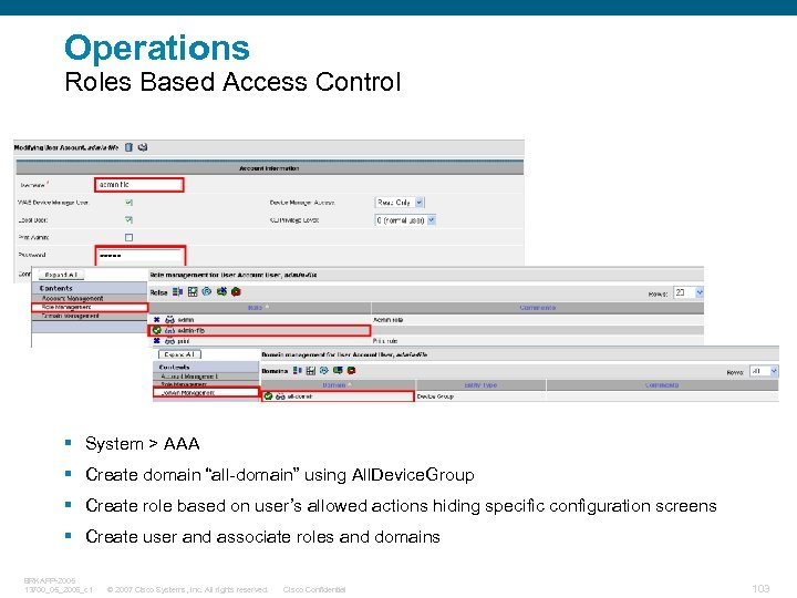 "Operations Roles Based Access Control § System > AAA § Create domain ""all-domain"" using"