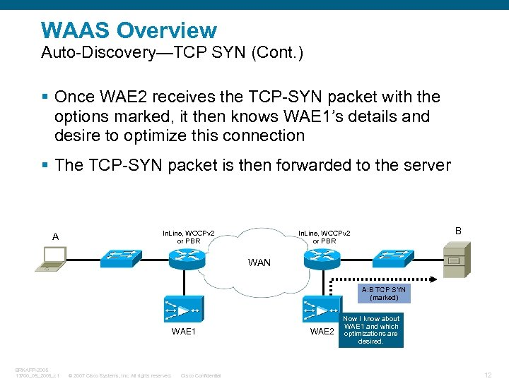 WAAS Overview Auto-Discovery—TCP SYN (Cont. ) § Once WAE 2 receives the TCP-SYN packet
