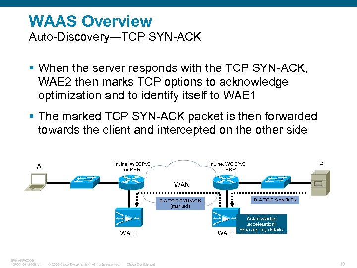 WAAS Overview Auto-Discovery—TCP SYN-ACK § When the server responds with the TCP SYN-ACK, WAE