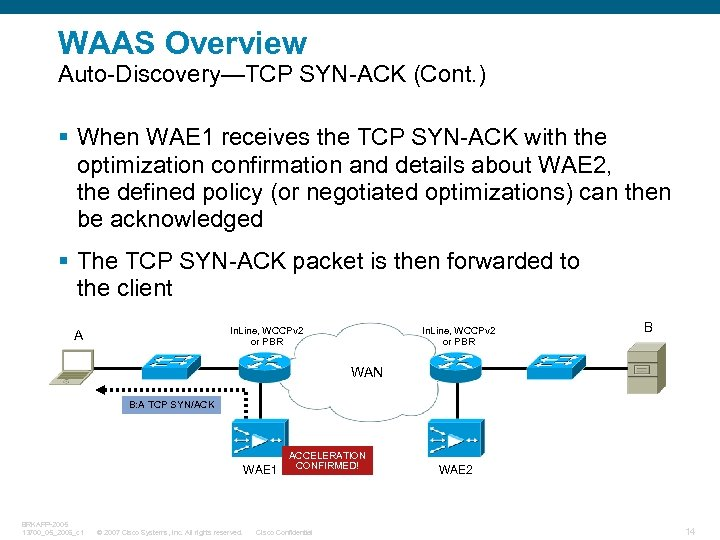 WAAS Overview Auto-Discovery—TCP SYN-ACK (Cont. ) § When WAE 1 receives the TCP SYN-ACK