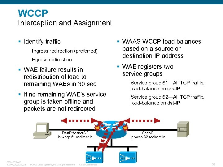 WCCP Interception and Assignment § Identify traffic Ingress redirection (preferred) Egress redirection § WAE