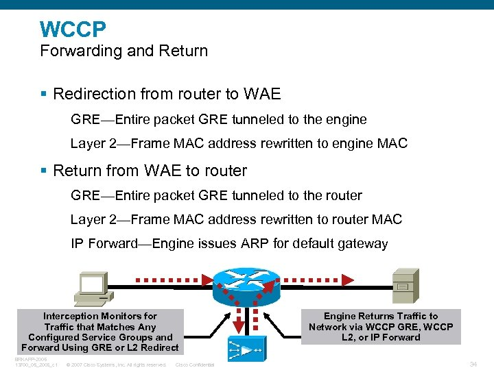 WCCP Forwarding and Return § Redirection from router to WAE GRE—Entire packet GRE tunneled