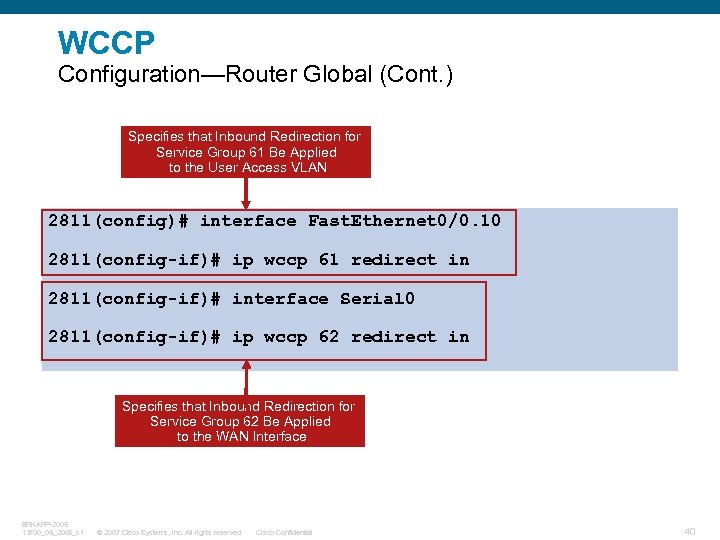 WCCP Configuration—Router Global (Cont. ) Specifies that Inbound Redirection for Service Group 61 Be