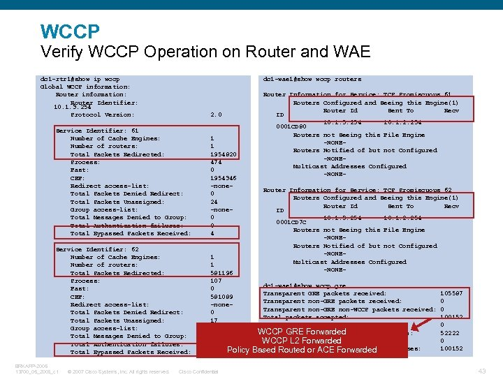 WCCP Verify WCCP Operation on Router and WAE dc 1 -rtr 1#show ip wccp