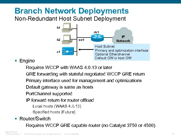 Branch Network Deployments Non-Redundant Host Subnet Deployment h 1 rtr 1 h 2 sw