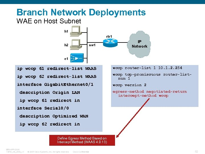 Branch Network Deployments WAE on Host Subnet h 1 rtr 1 h 2 sw