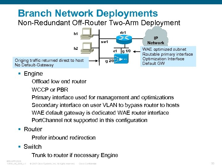 Branch Network Deployments Non-Redundant Off-Router Two-Arm Deployment rtr 1 h 1 IP Network sw