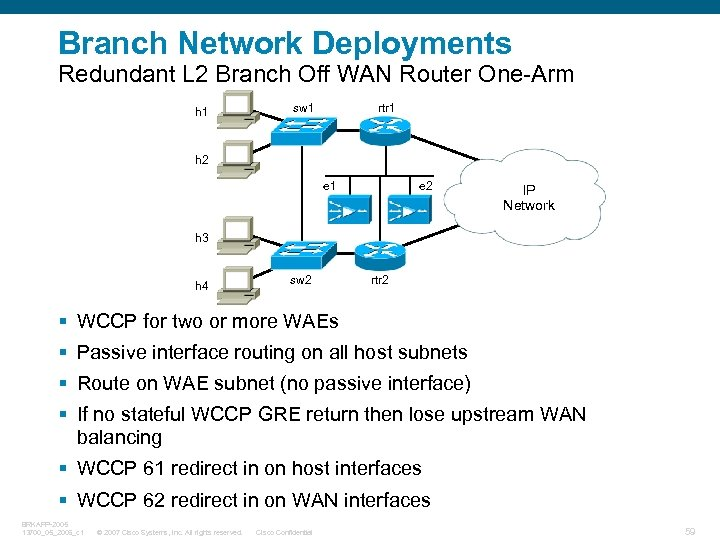 Branch Network Deployments Redundant L 2 Branch Off WAN Router One-Arm h 1 sw