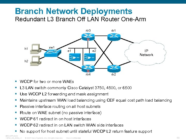 Branch Network Deployments Redundant L 3 Branch Off LAN Router One-Arm rtr 3 h
