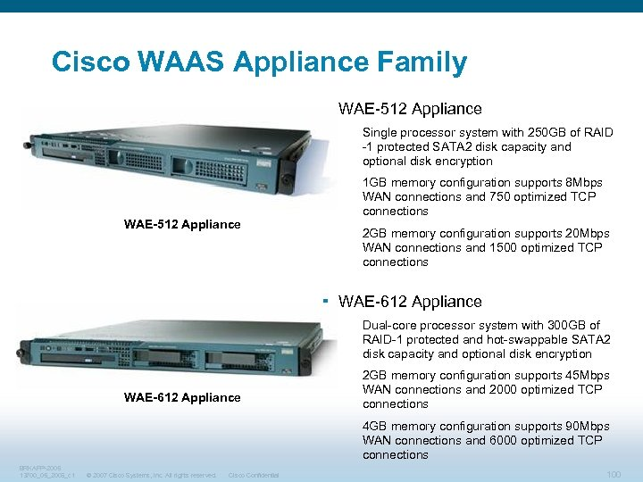 Cisco WAAS Appliance Family § WAE-512 Appliance Single processor system with 250 GB of