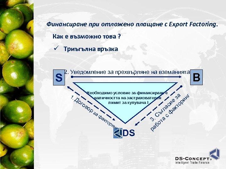 Финансиране при отложено плащане с Export Factoring. Как е възможно това ? ü Триъгълна
