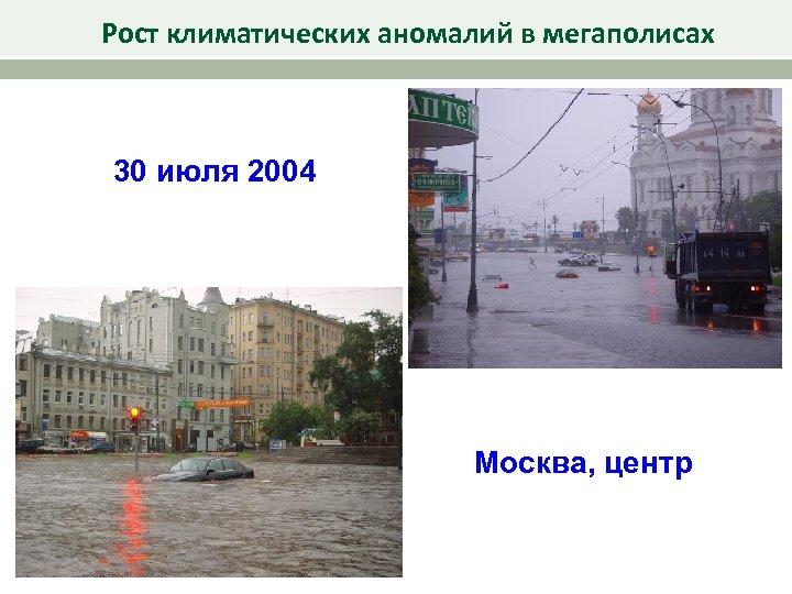 Рост климатических аномалий в мегаполисах 30 июля 2004 Москва, центр