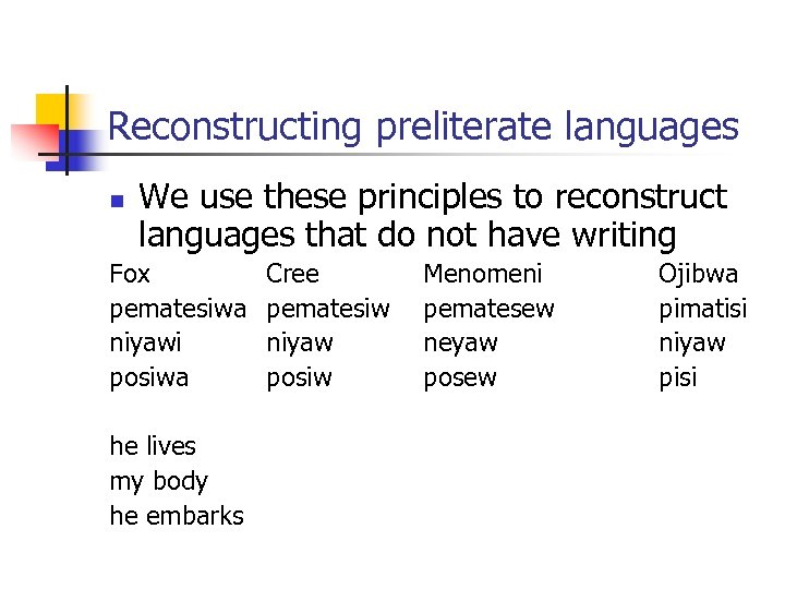 Reconstructing preliterate languages n We use these principles to reconstruct languages that do not