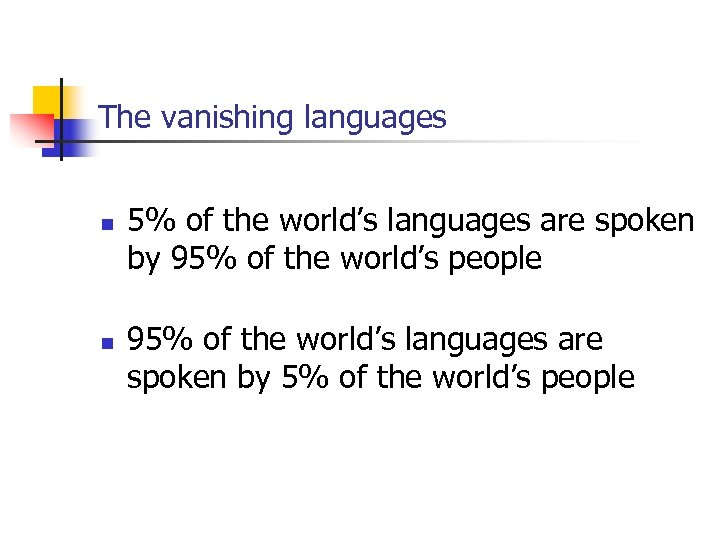 The vanishing languages n n 5% of the world's languages are spoken by 95%