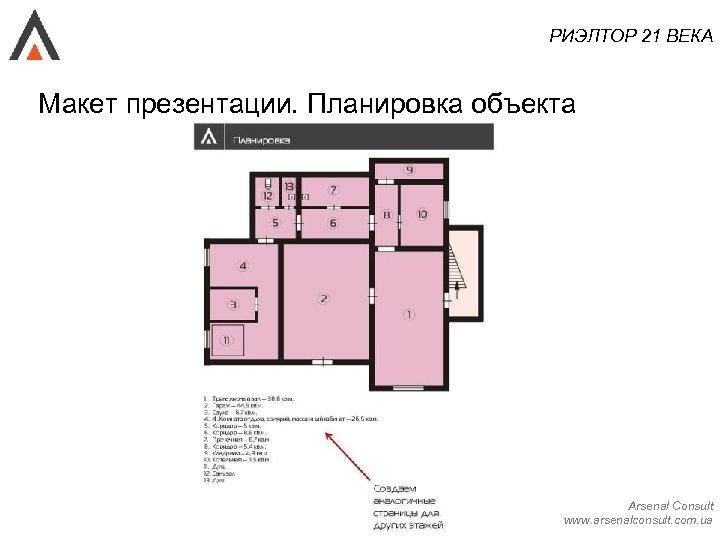 РИЭЛТОР 21 ВЕКА Макет презентации. Планировка объекта Arsenal Consult www. arsenalconsult. com. ua