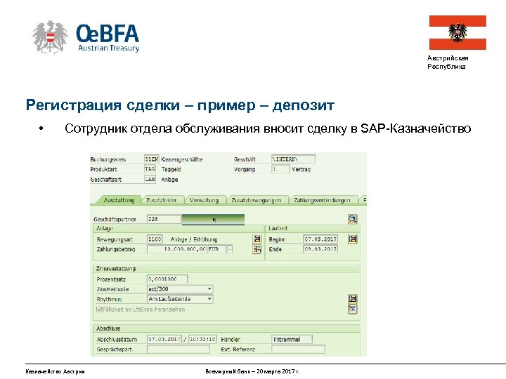 Австрийская Республика Регистрация сделки – пример – депозит • Сотрудник отдела обслуживания вносит сделку