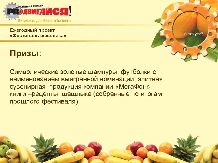 Ежегодный проект «Фестиваль шашлыка» Призы: Символические золотые шампуры, футболки с наименованием выигранной номинации, элитная