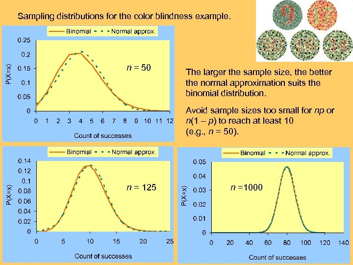 Sampling distributions for the color blindness example. n = 50 The larger the sample