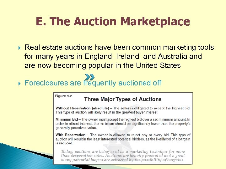 E. The Auction Marketplace Real estate auctions have been common marketing tools for many