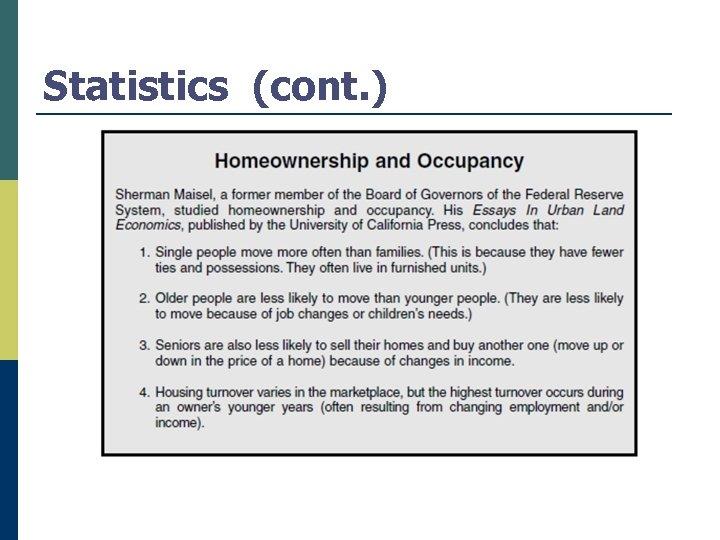 Statistics (cont. )