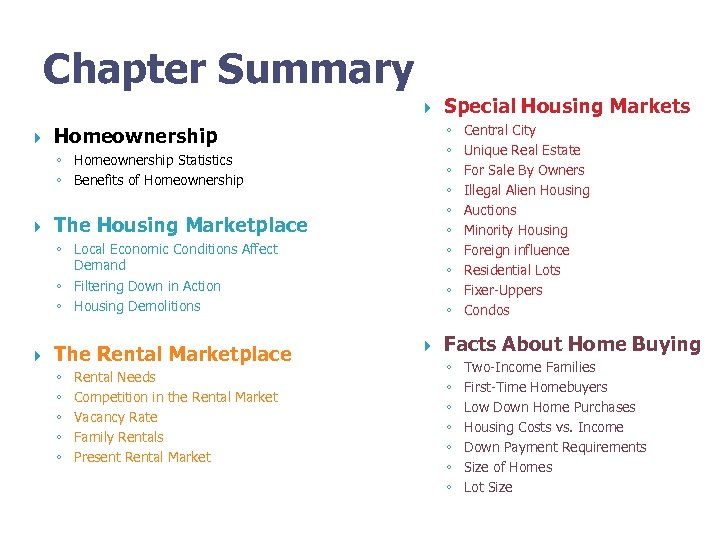 Chapter Summary ◦ ◦ ◦ ◦ ◦ Homeownership Statistics ◦ Benefits of Homeownership The
