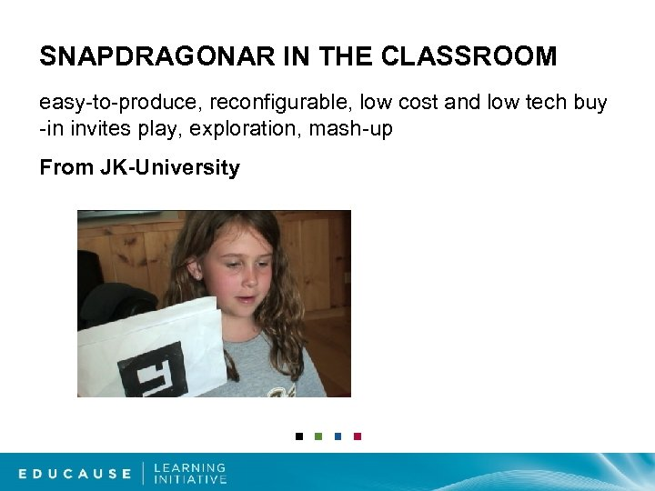 SNAPDRAGONAR IN THE CLASSROOM easy-to-produce, reconfigurable, low cost and low tech buy -in invites