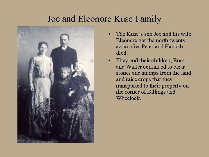 Joe and Eleonore Kuse Family • The Kuse's son Joe and his wife Eleonore