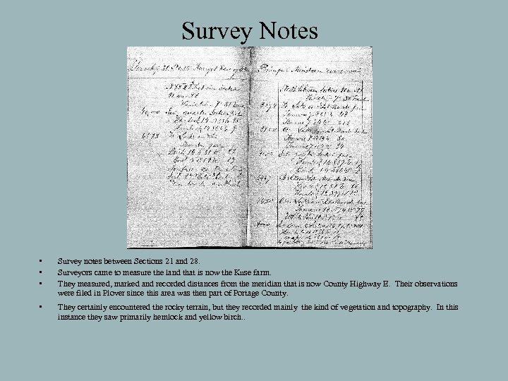 Survey Notes • • • Survey notes between Sections 21 and 28. Surveyors came