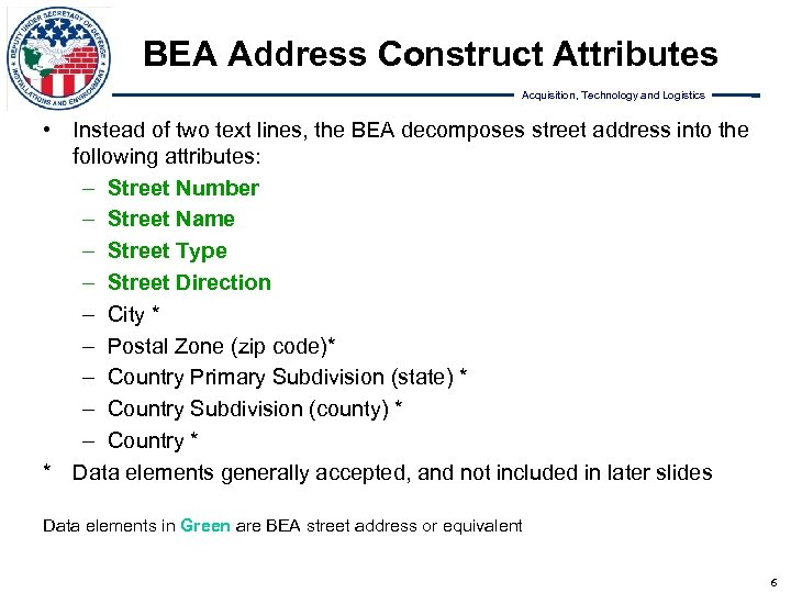 BEA Address Construct Attributes Acquisition, Technology and Logistics • Instead of two text lines,