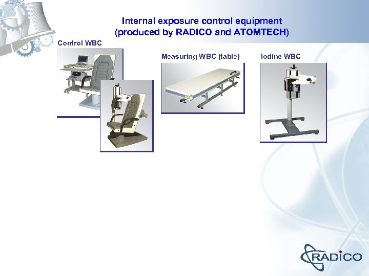 Internal exposure control equipment (produced by RADICO and ATOMTECH) Control WBC Measuring WBC (table)