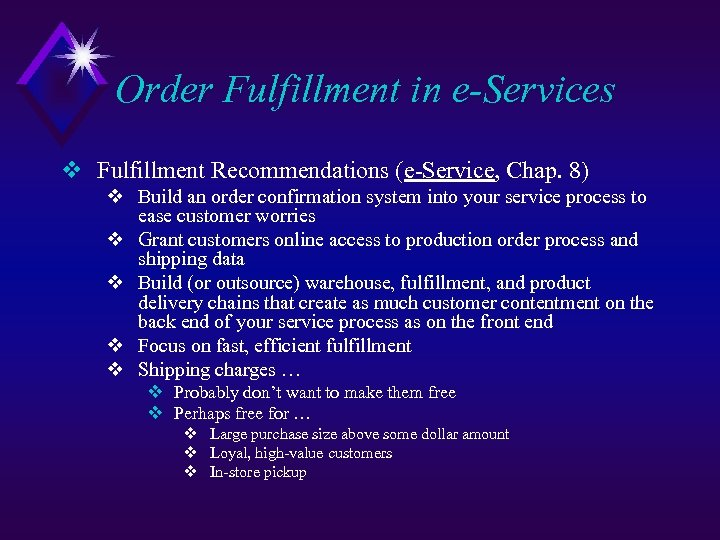 Order Fulfillment in e-Services v Fulfillment Recommendations (e-Service, Chap. 8) v Build an order