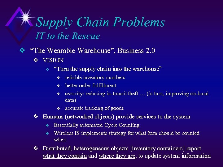 "Supply Chain Problems IT to the Rescue v ""The Wearable Warehouse"", Business 2. 0"
