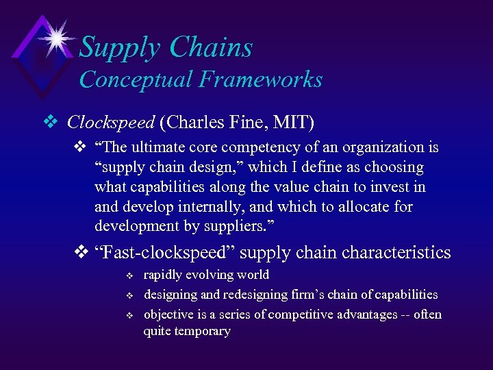 "Supply Chains Conceptual Frameworks v Clockspeed (Charles Fine, MIT) v ""The ultimate core competency"
