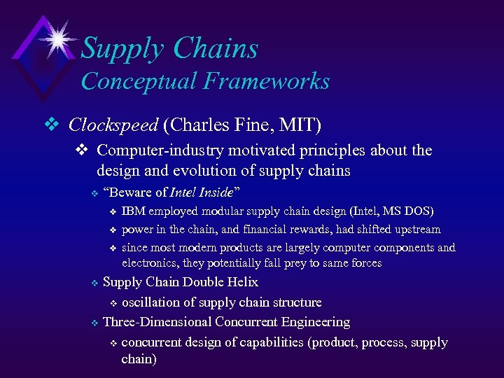 Supply Chains Conceptual Frameworks v Clockspeed (Charles Fine, MIT) v Computer-industry motivated principles about