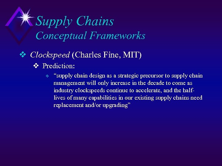 "Supply Chains Conceptual Frameworks v Clockspeed (Charles Fine, MIT) v Prediction: v ""supply chain"