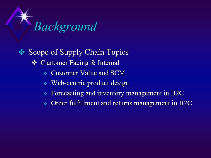 Background v Scope of Supply Chain Topics v Customer Facing & Internal v Customer