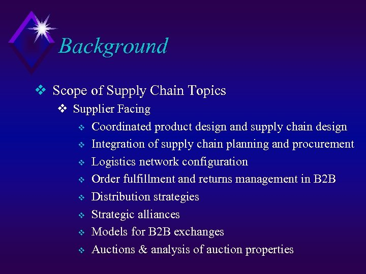 Background v Scope of Supply Chain Topics v Supplier Facing v Coordinated product design