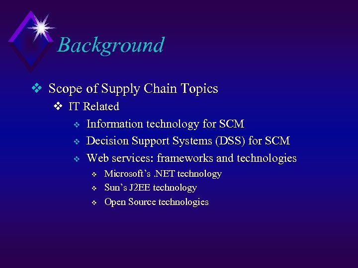 Background v Scope of Supply Chain Topics v IT Related v Information technology for