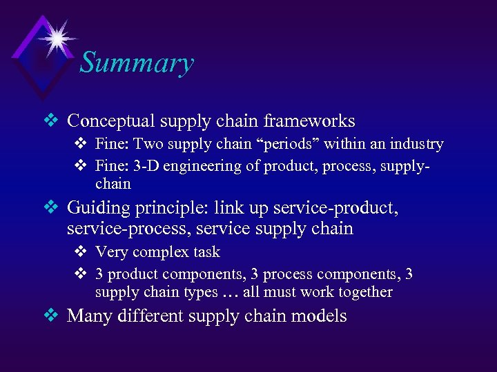 "Summary v Conceptual supply chain frameworks v Fine: Two supply chain ""periods"" within an"