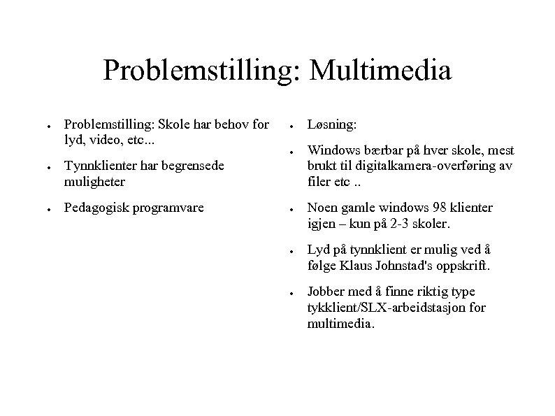 Problemstilling: Multimedia ● Problemstilling: Skole har behov for lyd, video, etc. . . ●