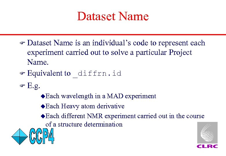 Dataset Name is an individual's code to represent each experiment carried out to solve