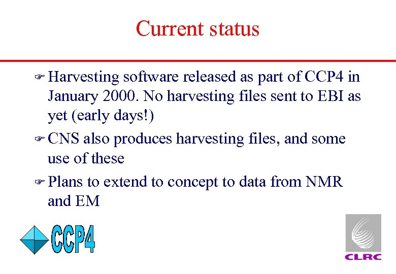 Current status F Harvesting software released as part of CCP 4 in January 2000.
