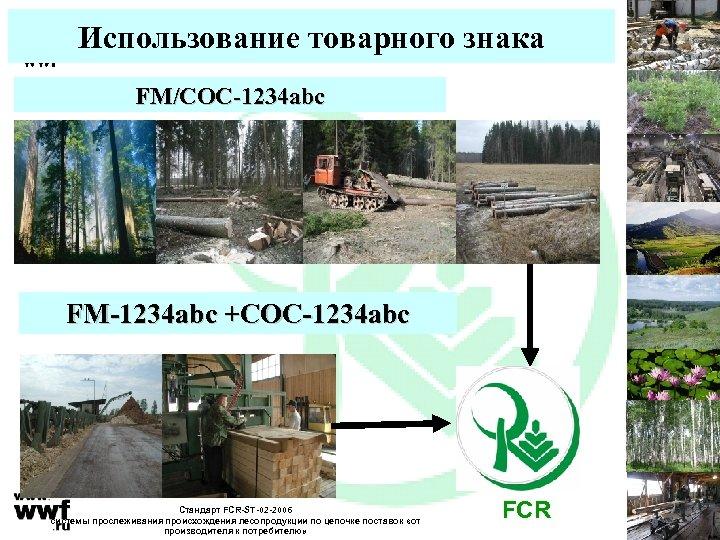 Использование товарного знака FM/COC-1234 abc FM-1234 abc +COC-1234 abc Стандарт FCR-ST-02 -2006 системы прослеживания