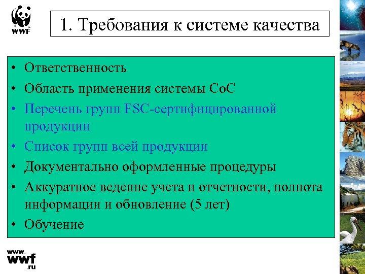 1. Требования к системе качества • Ответственность • Область применения системы Cо. C •