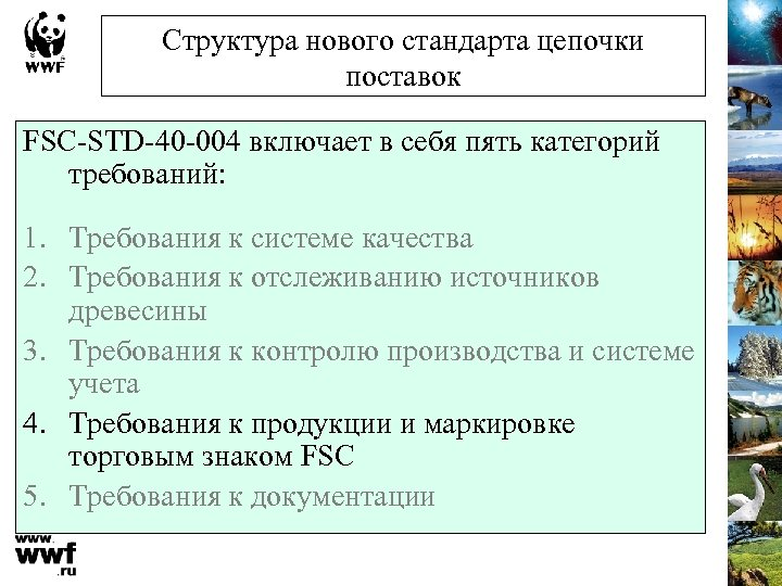 Структура нового стандарта цепочки поставок FSC-STD-40 -004 включает в себя пять категорий требований: 1.
